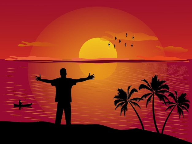 A silhouette of a man standing with his arms outstretched on top of a mountain sunset background.