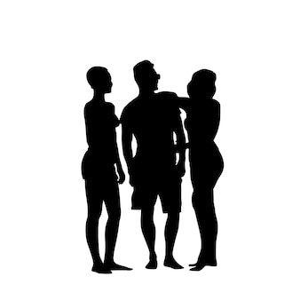 Silhouette man standing with two women full length over white background