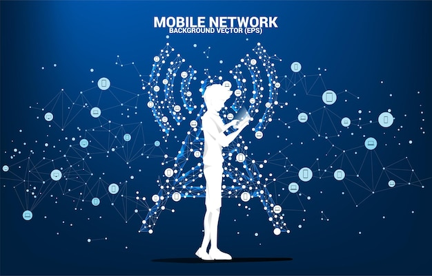 Silhouette of man use mobile phone antenna tower icon polygon style from dot and line connection. concept of telecommunication mobile and data technology