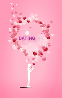 Silhouette of man use mobile phone with multiple heart particle. concept for online love and dating application.