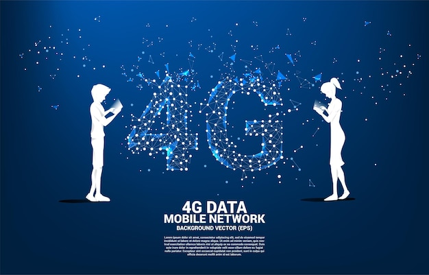 Silhouette of man using mobile phone with polygon dot connect line shaped 4g mobile network. concept for mobile phone data sim card technology.