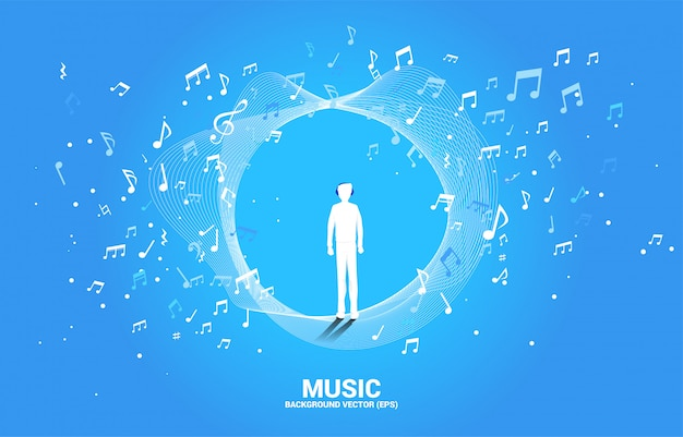 Silhouette of man with headphone and music melody note dancing flow .