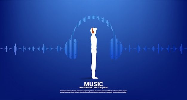 Silhouette of man with headphone and sound wave music equalizer. audio visual headphone with line wave graphic style