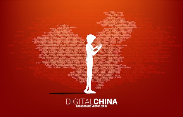 Silhouette of man with mobile phone in hand with china map binary graphic. concept for digital yuan financial and banking.