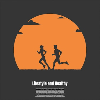Silhouette man and woman running