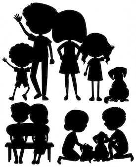 Silhouette man and woman together on white background