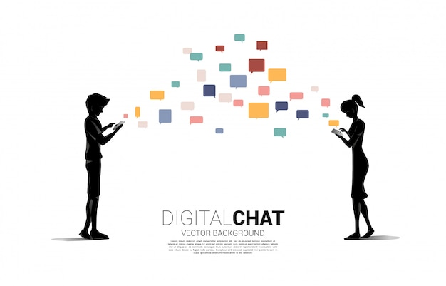 Silhouette of man and woman use chat in mobile phone. concept for mobile chat application and digital life.