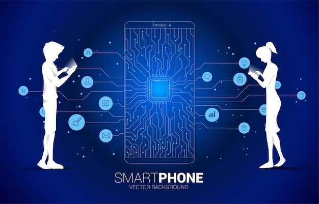 Silhouette man and woman use mobile phone and cpu dot connect line circuit board style mobile phone icon. concept for mobile phone technology and data network.