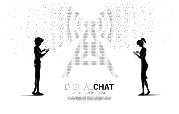 Silhouette of man and woman use mobile phone with antenna tower icon pixel transform style. concept for data transfer of mobile and wi-fi data network.