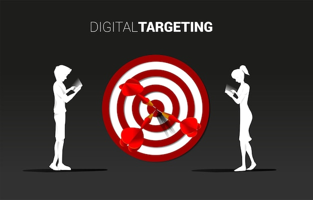 Silhouette man and woman with mobile phone with dartboard . business concept of online marketing target and customer