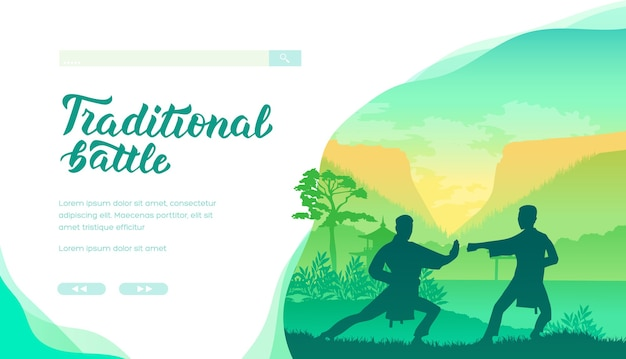Silhouette of martial art masters of china on nature background. two men demonstrate kung fu poses.