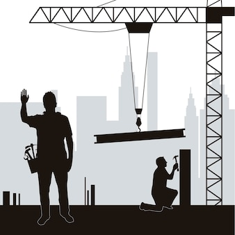 Silhouette men working in construction vector illustration