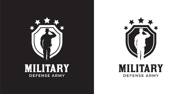 Silhouette of military lieutenant british navy respectful captain army with shield and star logo design