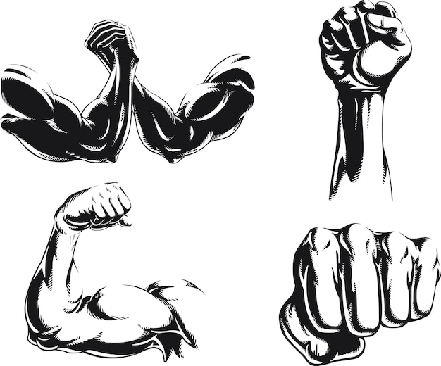 Silhouette mma fighter bodybuilder arm logo isolated, illustration on black and white style