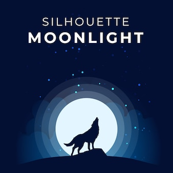 Silhouette moonlight with wolf howl