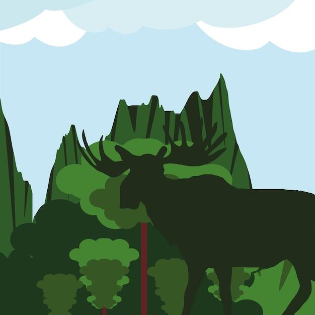 실루엣 무스 녹색 풍경