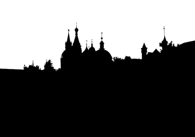Silhouette of moscow city in black color on white vector illustration