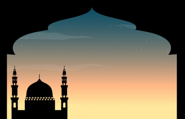 Silhouette mosque at twilight