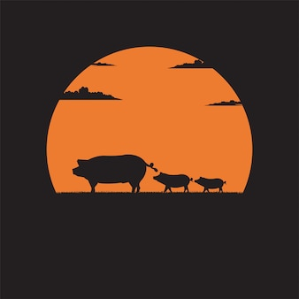 Silhouette mother pig with little piglets