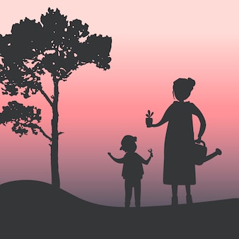 Silhouette of mother and son gardening vector