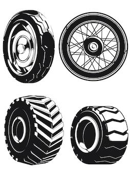 Силуэт колеса мотоцикла автомобильные шины изолированные наброски набор