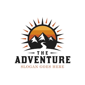Silhouette mountain outdoors with bright sun for adventure traveler vintage hipster logo design