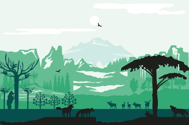 シルエット山動物木自然