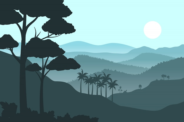 Silhouette mountains background