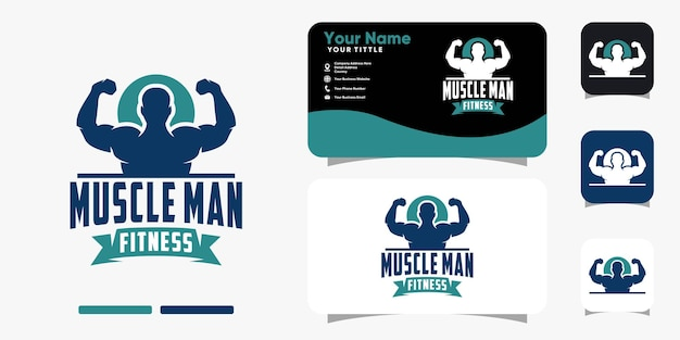Silhouette muscle man logo and business card design vector template