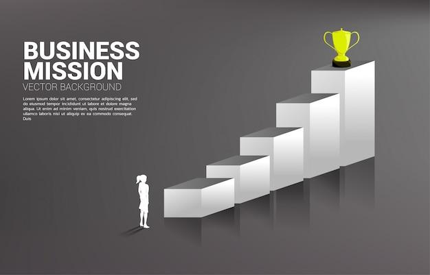 Silhouette коммерсантка планируя получить трофей na górze диаграммы. бизнес-концепция цели и видения миссии