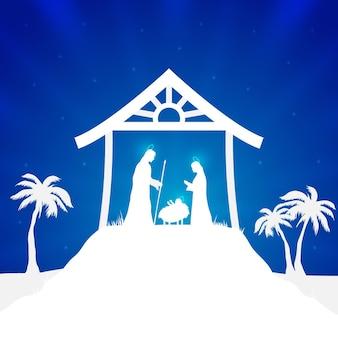 シルエットのキリスト降誕のシーンのイラスト
