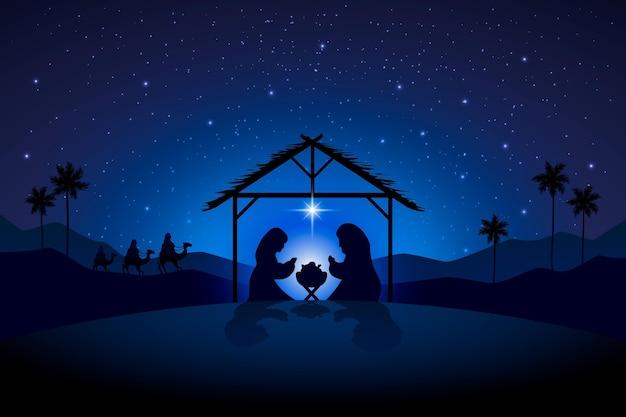 Иллюстрация сцены рождества силуэт