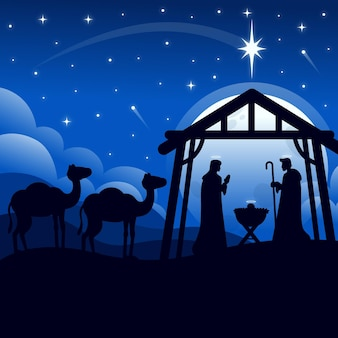 Silhouette nativity scene illustration