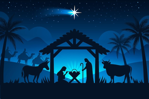 夜のシルエットのキリスト降誕のシーン