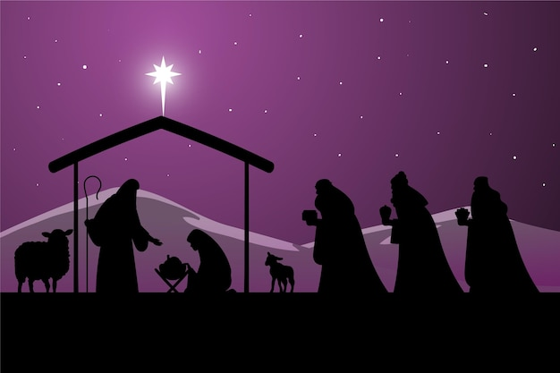 Silhouette nativity scene