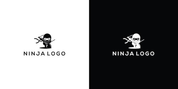 Логотип силуэт ниндзя premium векторы
