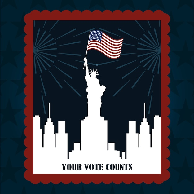 Silhouette ny city with flag post stamp, politics voting and elections usa, make it count illustration