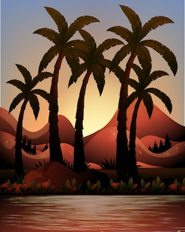Silhouette ocean and palms background
