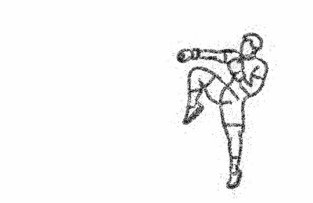 立っているサイドキックをしているボクシングのシルエット、パーティクルアートイラストデザイン。