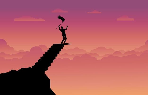 頂上山の階段、日光の背景と空の夕日に旗を保持しているビジネスマンのシルエット。ビジネス、成功、リーダーシップ、達成および目標の概念。ベクトルイラストフラット