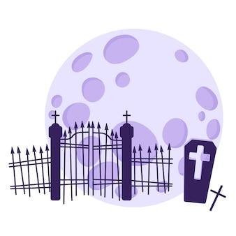 보름달을 배경으로 묘지와 무덤의 실루엣.