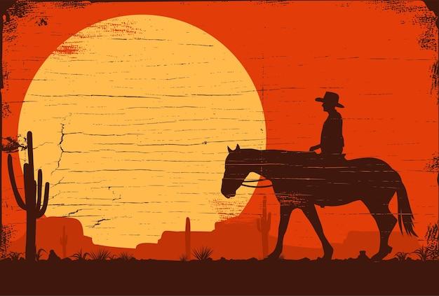 일몰, 벡터에서 말을 타고 카우보이의 실루엣