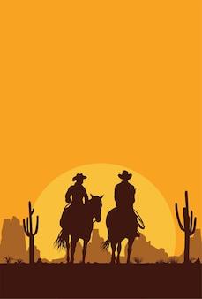 馬に乗るカウボーイのシルエット