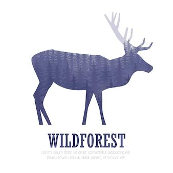 松林、青と白の色の背景、ベクトルイラストと鹿のシルエット