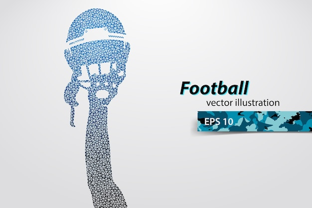 フットボール用ヘルメットと三角形から手のシルエット