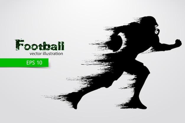 Силуэт футболиста. регби. американский футбол. иллюстрация