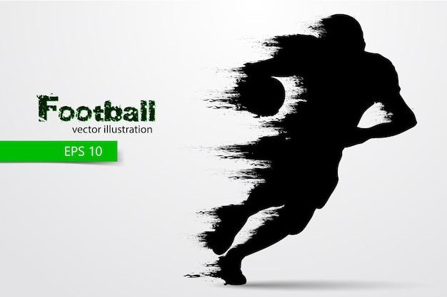 サッカー選手のシルエット。ラグビー。アメリカンフットボール。図