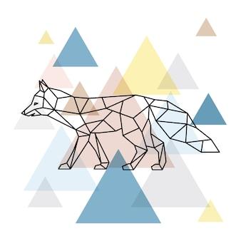 幾何学的なキツネのシルエット。スカンジナビア様式。