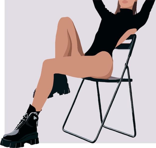 의자에 앉아 검은색 바디수트를 입은 소녀의 실루엣