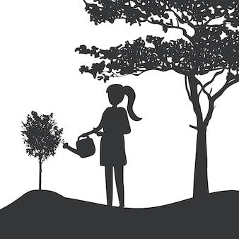 식물 벡터를 급수하는 여자의 실루엣
